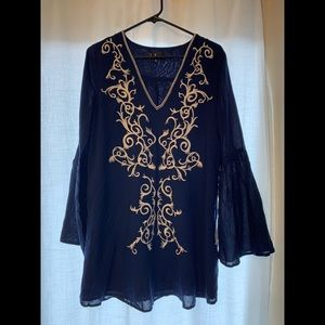 Navy Blue Bell Sleeve Mini Dress